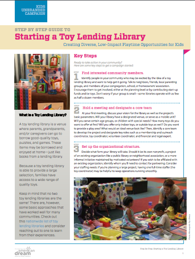New Dream Action Kit Step By Step Starting A Toy Lending Library