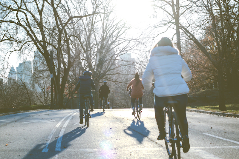 Family Winter Biking