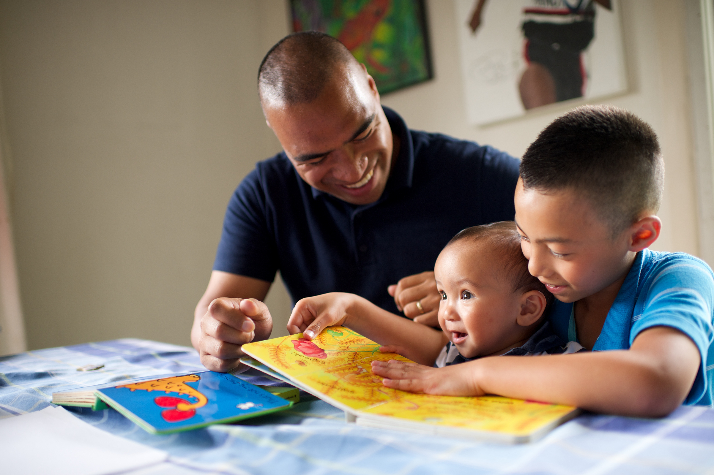 Father Children Reading Books