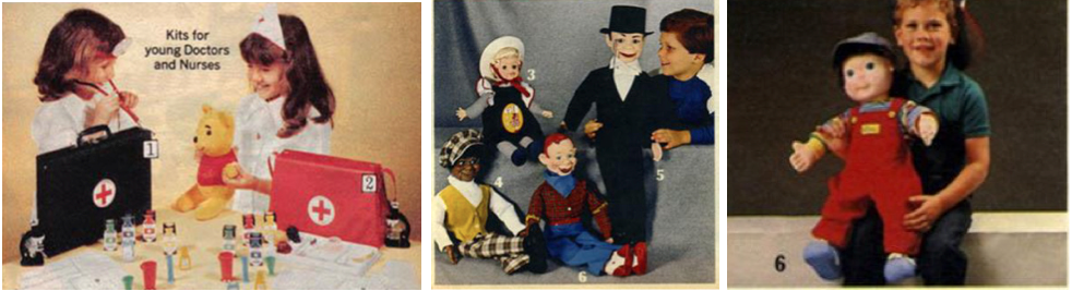 Left - 1975 Sears Wishbook: Girls as doctors and nurses. Center & Right - 1985 Sears Wishbook: Dolls for boys.